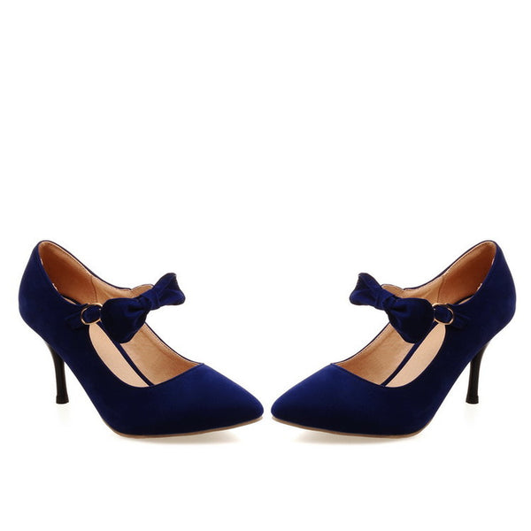 Bow Tie Ankle Straps High Heeled Shoes for Women 8940