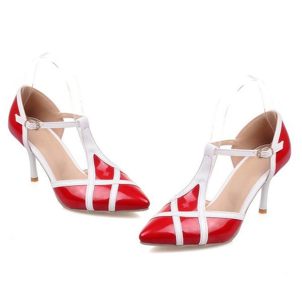 Pointed Toe T Strap Stiletto High Heels Sandals Pumps Women Shoes 7610