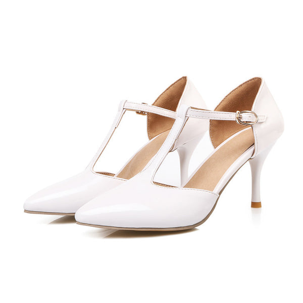 Pointed Toe T Straps Sandals High Heels Women Shoes 7742
