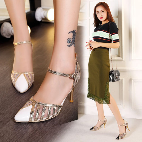 Pointed Toe Ankle Strap Sandals High Heels Shoes Woman 8197