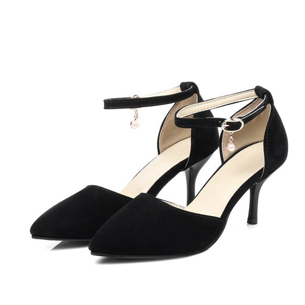 Pointed Toe Ankle Strap Flock Stiletto High Heels Sandals Pumps Women Shoes 3631