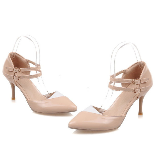 Pointed Toe Double Straps Stiletto High Heels Sandals Pumps Women Shoes 4538
