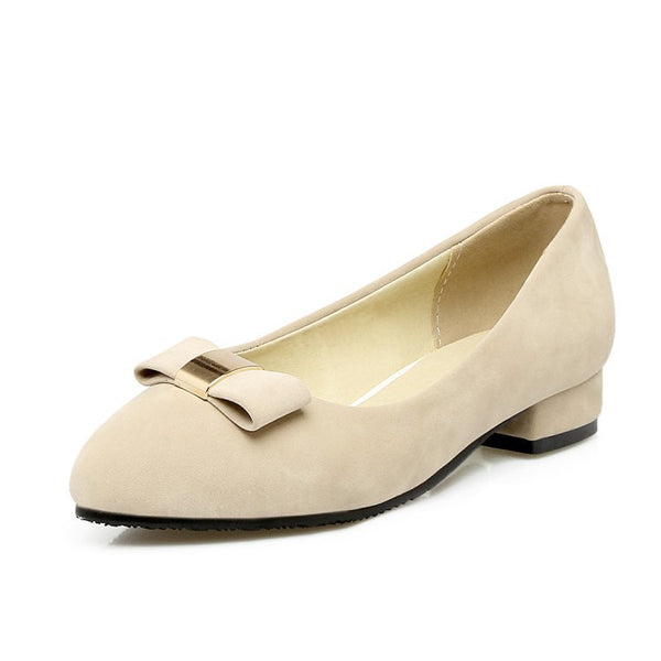 Pointed Toe Bowtie Suede Women Flat Shoes 3660