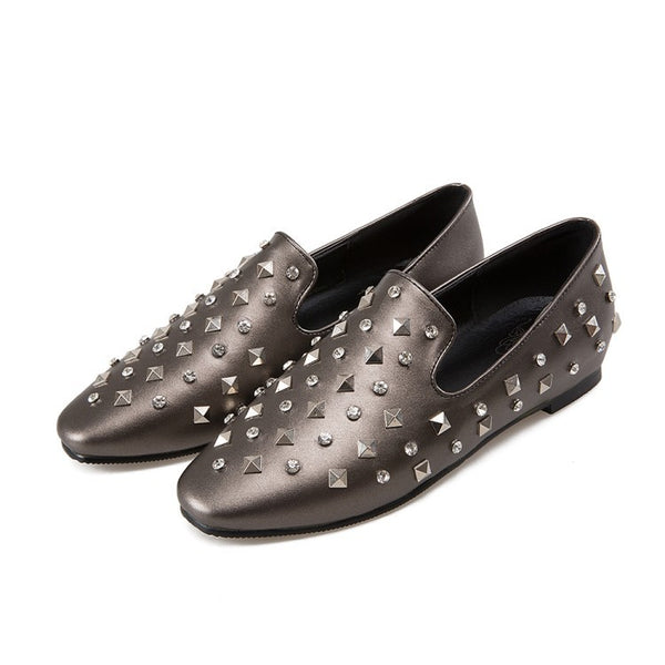 Square Toe Studded Women Flat Shoes 9418