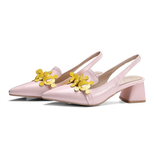Pointed Toe Flower Women's Slingbacks Sandals Dress Shoes for Summer 8022