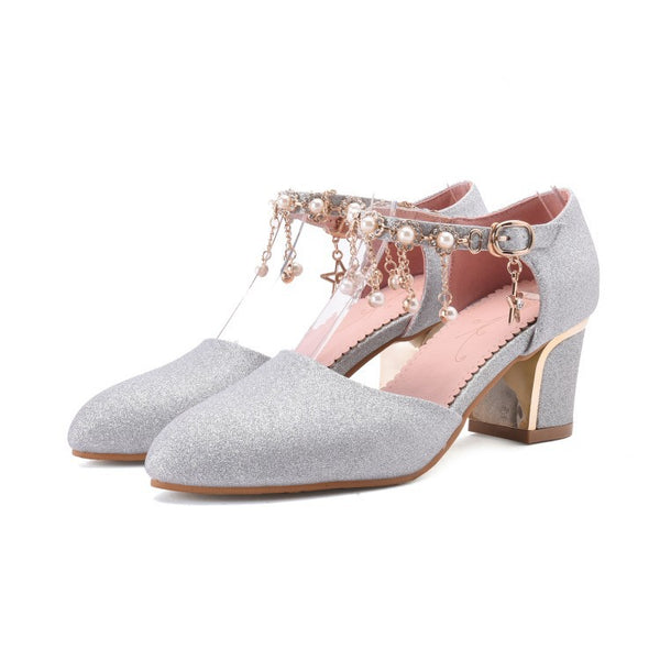 Pointed Toe Ankle Strap Rhinestone Pearl Tassel Chunky Heels Sandals Pumps Women Shoes 5465
