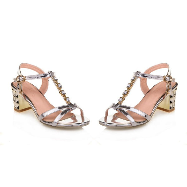 T Strap Rhinestone Sandals Chunky Heels Shoes Woman 2328