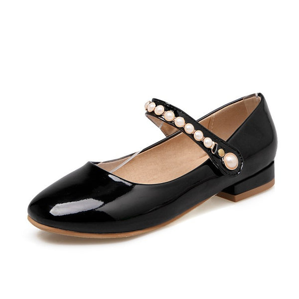 Pearl Women Mary Janes Mid Heels Shoes 8070