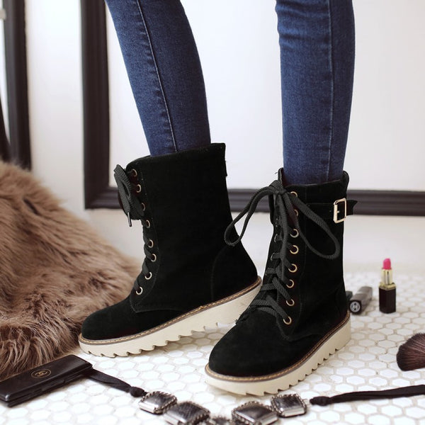 Lace Up Buckle Mid Calf Boots for Women 9753