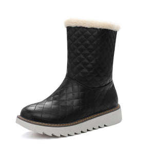 Round Toe Plaid Flats Snow Boots 5594