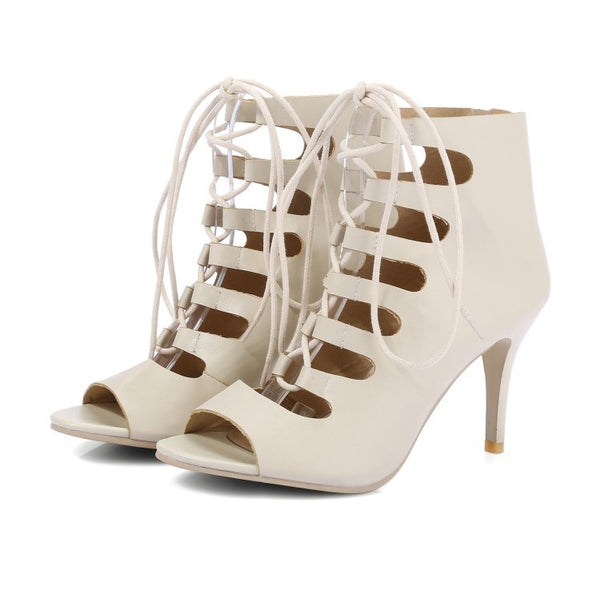 Women's Lace Up Gladiator Sandals High Heels Shoes 6435