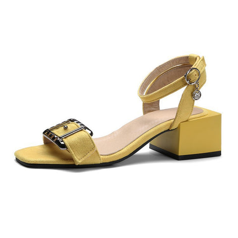 Women's Ankle Straps Thick Heeled Sandals Dress Shoes for Summer 7998