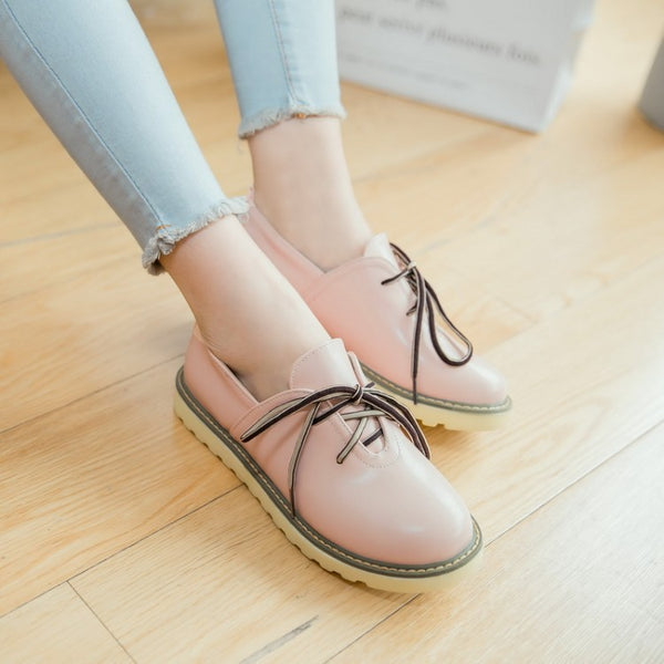 Lace Up Soft Leather Women Flat Shoes 1392