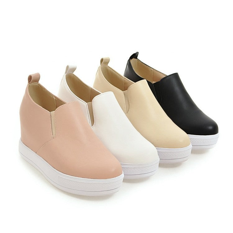 Round Toe Platform Wedges Heels Shoes for Women 5204