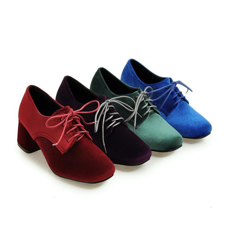 Square Toe Lace Up Chunky High Heel Shoes Woman 3383