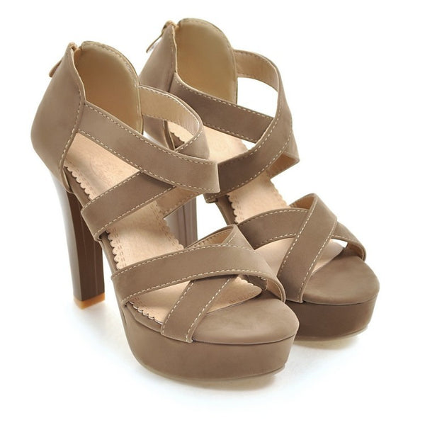 Women's Gladiator Straps Platform Sandals High Heels Shoes 3823