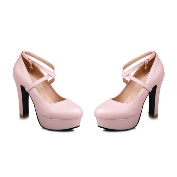 Cross Straps Platform Chunky High Heel Shoes Woman 7678