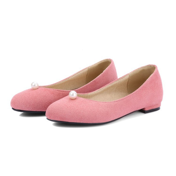 Pearl Suede Women Flat Shoes 9479