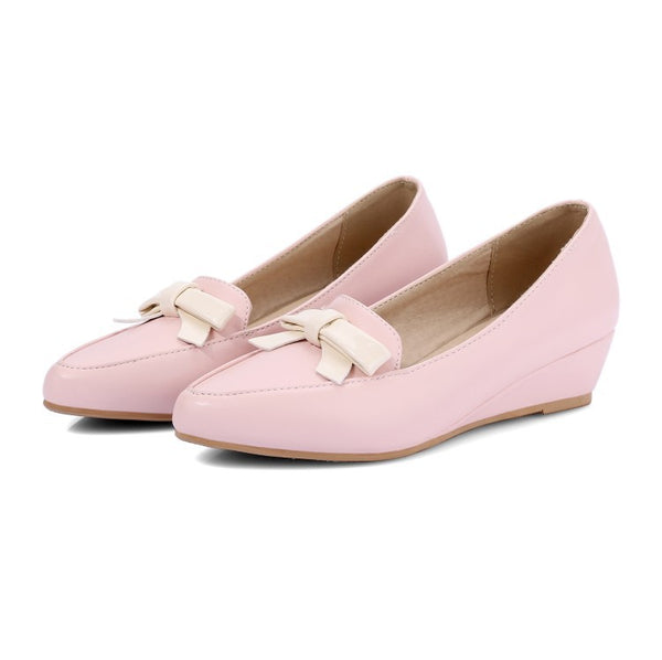 Pointed Toe Bow Wedges Heels Shoes for Women 6580