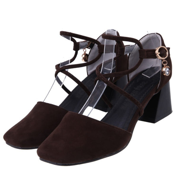Women's Ankle Straps Square Toe Sandals Chunky Heels Shoes 6046