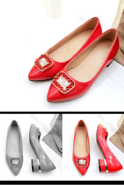 Pointed Toe Rhinestone Women Mid Heels Shoes 8645