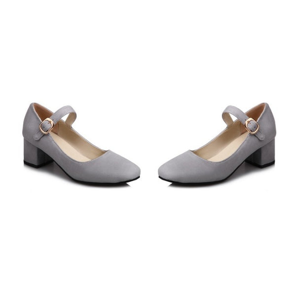 Square Toe Women Mary Janes Mid Heels Shoes 7953
