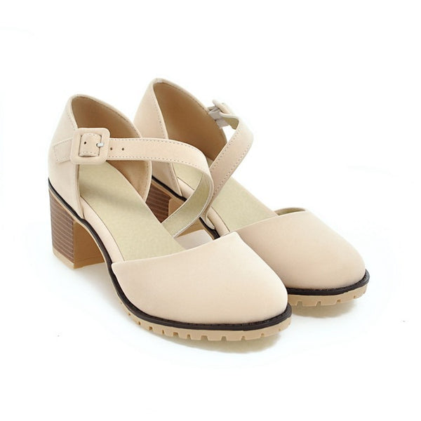 Ankle Strap Covered Toe Sandals Chunky Heels Shoes Woman 9633