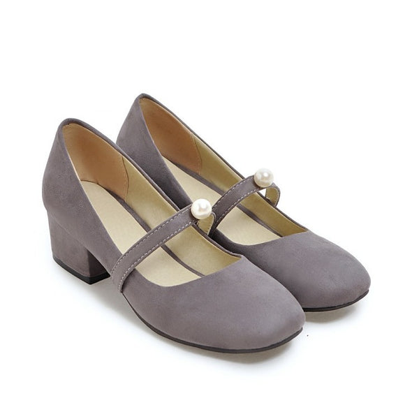 Suede Women Mid Mary Janes Heels Shoes 8024