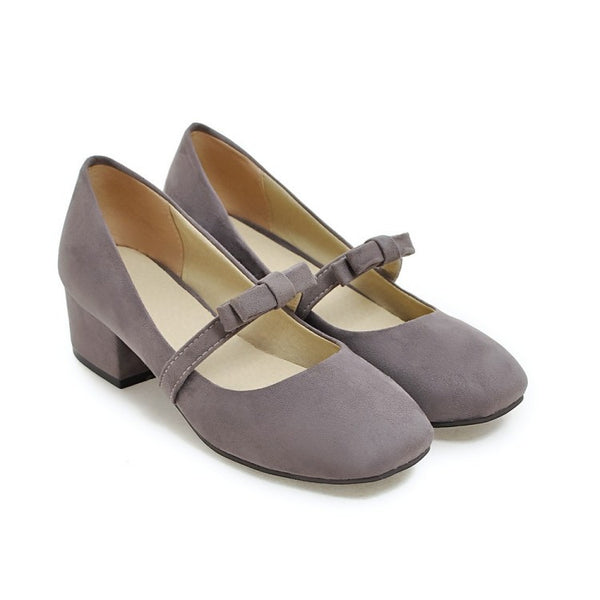 Square Toe Bow Mary Janes  Medium Heel Shoes for Woman 8542