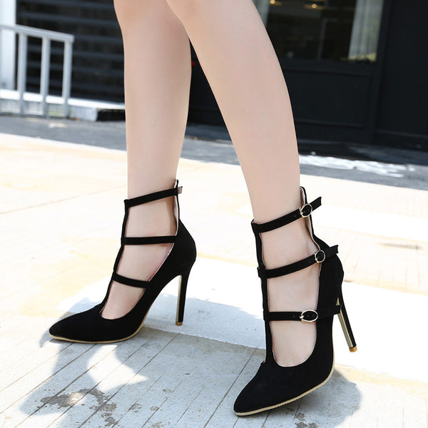 Pointed Toe Suede Strappy Pumps High Heels 9407