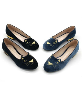 Embroidery Cat Black Slip On Flats Shoes 1550