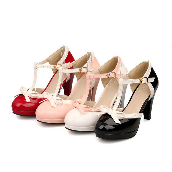 T Straps Knot Platform High Heel Shoes Woman 3908
