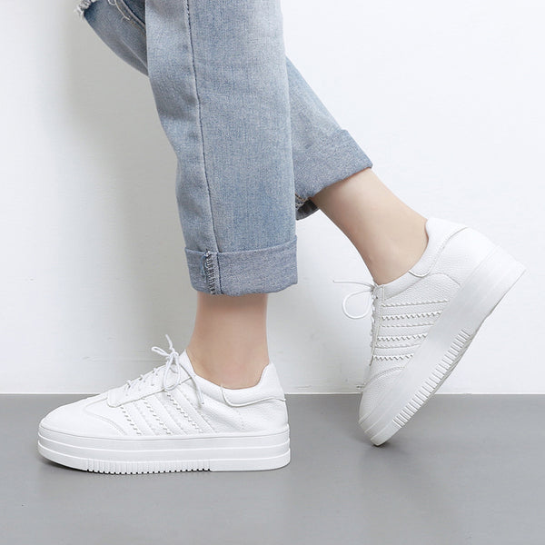 Genuine Leather Casual White Sneaker Platform Shoes Women Flats 3236