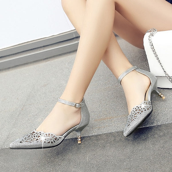 Pointed Toe Ankle Strap Rhinestone Stiletto High Heels Sandals Pumps Women Wedding Shoes 6485