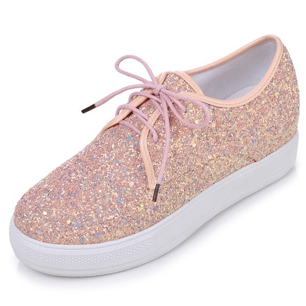 Lace Up Sequin Platform Shoes for Women 9117