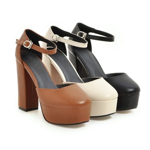 Women's Ankle Straps Platform Sandals High Heels Shoes 3027