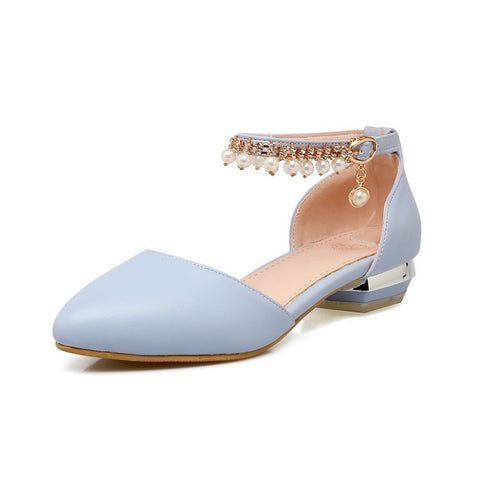 Women Ankle Straps Pearl Flat Sandals Shoes 2085