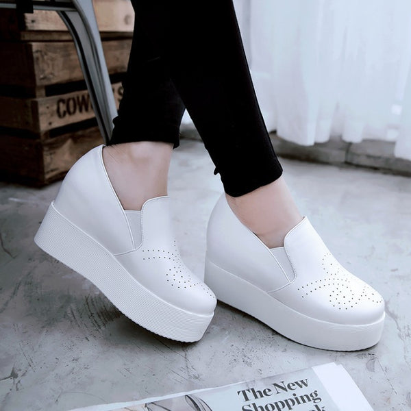 Pu Leather Platform Wedges Heels Shoes for Women 9675