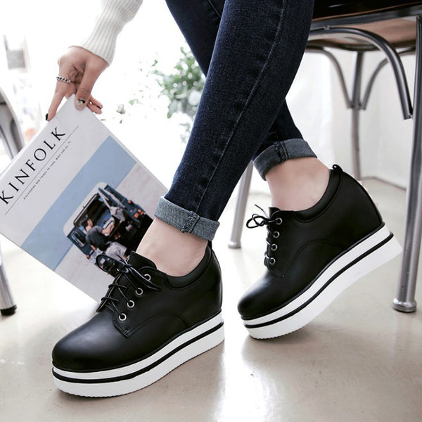 Lace Up Platform Wedges Heels Shoes for Women 3171