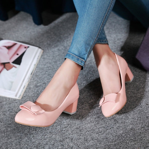 Women Pumps Mid Chunky Heels Dress Shoes 4296