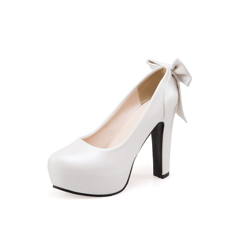 Round Toe Bow Tie High Heeled Shoes for Women 2754