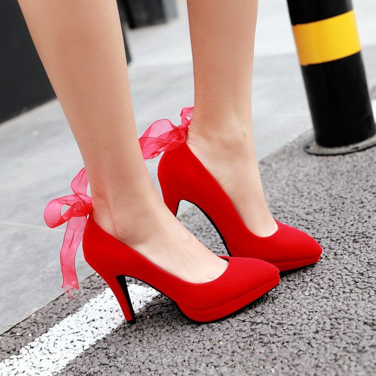 Silk Ribbon Bow Tie Platform Heels High Heeled Shoes for Women 8409