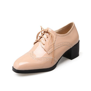Lace Up Women Heels Dress Oxford Shoes 4150