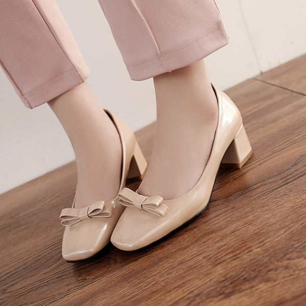 Square Toe Bow Pumps Medium Heel Shoes for Woman 3196