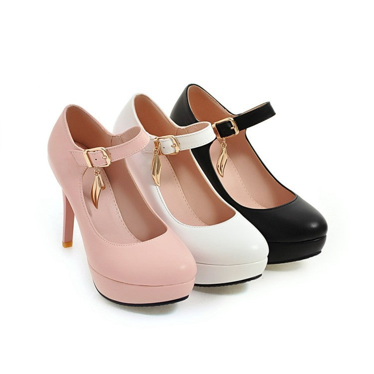 Ankle Straps Platform Pumps Women High Heels Shoes 8140