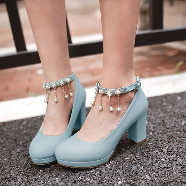 Women's Ankle Straps Pearl Chain Platform Chunky High Heels Shoes 6459