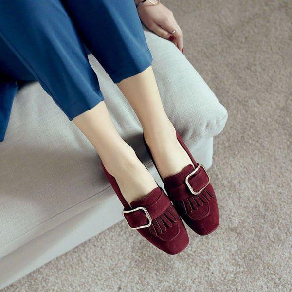 Tassel Women Chunky Heels Pumps Dress Shoes 7542