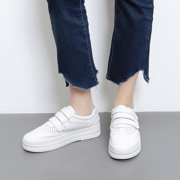 Hook Loop Casual Women Platform Sneakers Shoes White 8254