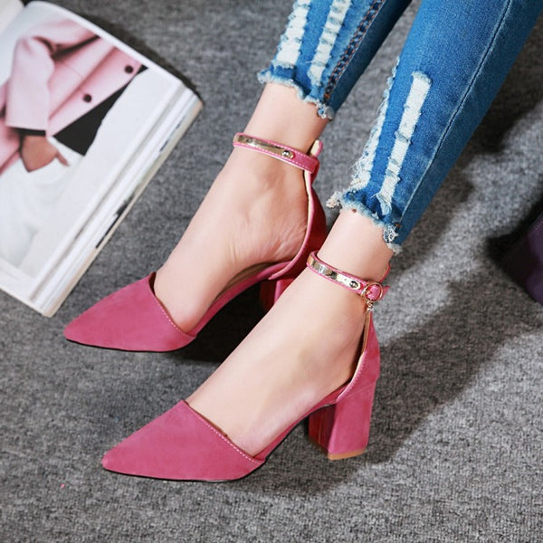 Pointed Cover Toe Ankle Straps Chunky Sandals Heels Women Shoes 2563
