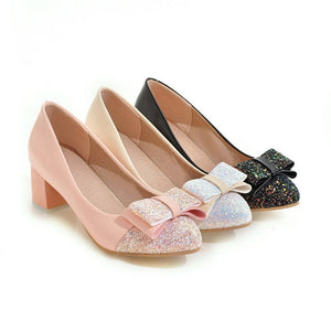 Sequin Bow Medium Chunky Heel Shoes for Woman 9000